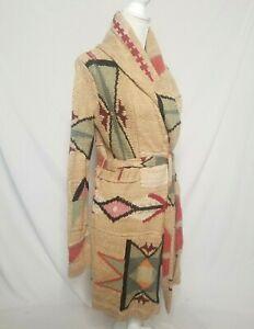 Ralph Lauren Womens M Hand Knit Linen Blend Cardigan Sweater Belted Aztec Indian