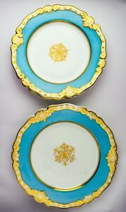 5 Antique Chamberlain's Worcester Gold & Turqoise China Cabinet Plates - SB62