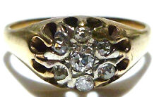 SIZE 8.25 WOMENS MENS 14K YELLOW GOLD VICTORIAN OLD MINE CUT DIAMOND RING BAND