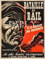 PLAQUE ALU DECO REPRODUCTION AFFICHE CINEMA BATAILLE DU RAIL TRAIN CHEMINOTS