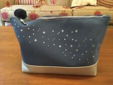 PHILIP KINGSLEY LARGE ZIPPED BLUE WASH/COSMETIC BAG ~ LINED ~ New