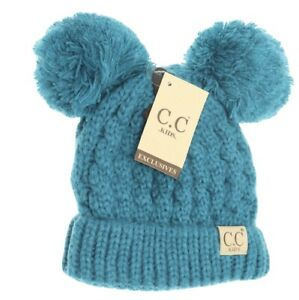 CC Kids Children's Beanie Double Pom Pom Ear Cable Knit Hat Teal