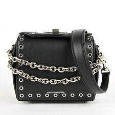 $2090 Alexander McQueen Black Calf Leather Eyelet Box 16 Chain Bag 479767 1000
