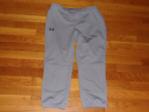 UNDER ARMOUR GRAY FITTED 3/4 BASEBALL PANTS MENS SMALL EXCELLENT