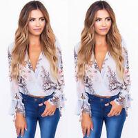 Fashion Women's Summer Floral Chiffon Long Sleeve Shirt Loose Casual Blouse Tops