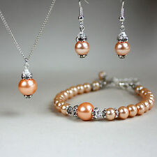 Peach pearls crystals necklace bracelet earrings silver wedding bridesmaid set