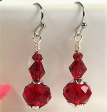 Stainless Steel Faceted Sapphire Ruby RED Crystal Earrings USA HANDMADE