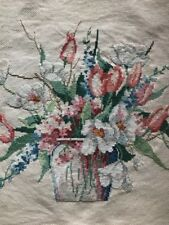 """Finished Floral Cross Stich Unframed 14"""" X 17"""" Beautifully Stitched"""