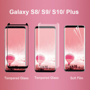 Samsung Galaxy S8 S9 S10 S20 Plus Tempered Glass Screen Protector  3D Curved