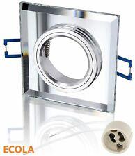 GU10 Square Mirror Glass Chrome Recessed Spot light Downlights Fitting