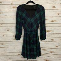 J Crew Green Black Plaid Drapey Flounce Tie Waist Long Sleeve Dress Size 6