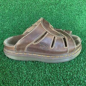 VTG Dr. Martens Women's Air Wair Brown Leather Slip On Slide Sandals Sz US 8 Y2K