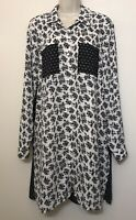 NWT Black Rainn Large Long Tunic Blouse Black White Long Button Down Shirt
