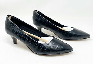 Clarks Linvale Jerica Black Print Leather Pumps Womens 7W Pointed Toe NEW