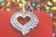 VINTAGE 10K GOLD GENUINE  DIAMOND HEART PENDANT SIGNED ADL Abraham  Loewenstark