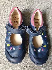 Chicas Clarks Zapatos 9.5F. GUC. Azul Marino.