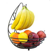 Bronze Fruit Basket with Banana Hook Home Basics Scroll Collection