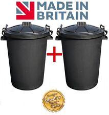 2 x Large 80/85L Litre Black Plastic Bin Rubbish Dustbin Animal Feed Storage New