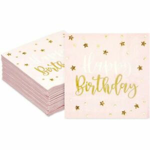 50 Pack Happy Birthday Napkins Party Supplies with Gold Foil Stars,  Pink 5 In