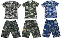 Mens Camouflage Elasticated Shorts Camo T shirt Cargo Combat Multi Pocket M-3XL
