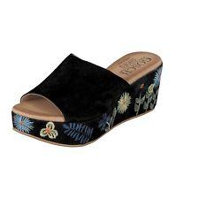 Gosch Shoes Damen Schuhe Plateau Sandalen geblümt Schwarz Leder 76051 NEU