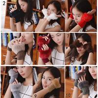 Women Faux Rabbit Fur Mittens Knitted Fingerless Wrist Gloves Winter Arm Warmer