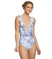 4c1355e91d Somedays Lovin Women Small One Piece Swim Suit Blue White Ruffles Floral  NWT 439