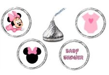 216 (54 ea of 4 ) MINNIE MOUSE BABY SHOWER Kisses Kiss Label Stickers Favors
