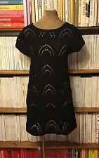 MONSOON black crochet cotton scallop beach mini dress UK 10-12 US 6-8