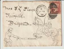 """QV. 1d Rouge """"pen & ink drawing"""" couverture utilisé 1879 """"Shepton-MALLET"""""""