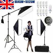 ☆2425W Studio 4 HEAD Softbox Continuous Lighting Photo Soft Box Boom Stand Kit☆