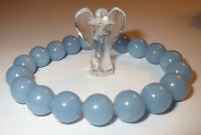 ANGELIC VIBRATION 10MM ANGELITE NATURAL CRYSTAL BRACELET