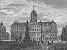 AMSTERDAM. The Royal Palace 1882 old antique vintage print picture