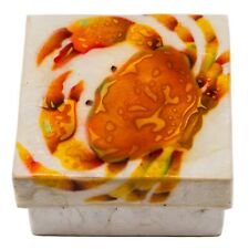 """Hand Painted Air Brushed Orange Crab Capiz Oyster Shell Jewelry Trinket Box 3"""""""