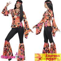 Ladies Willow Hippie Costume Womens 70s 1970s 60s Groovy Hippy Retro Fancy Dress