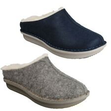 STEP FLOW CLOG LADIES CLARKS FAUX FUR INDOOR COSY WINTER HOUSE MULES SLIPPERS