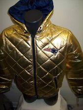 Women's: NFL NEW ENGLAND PATRIOTS HOODED WINTER JACKET  MED LG XL 2X GOLD / BLUE