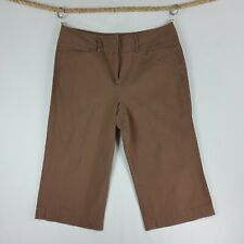 Larry Levine Womens Stretch Capris 16 Brown Flat Front Pockets Wide Waist Band