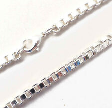 "Original Venetian Box Necklace Silver Plated 4mm 16-35"" New From Italian Factory"