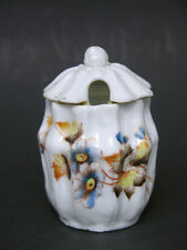 Victorian Mustard Pot Hand Painted Flowers Earliest OS Mark, Oscar Schlegelmilch