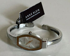 ANNE KLEIN GENUINE DIAMOND ROSE GOLD DIAL SILVER CUFF BANGLE BRACELET WATCH $85