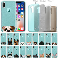"""For Apple iPhone X / Xs 5.8"""" Dog Cat Blue Glitter Clear Tpu Silicone Cover Case"""