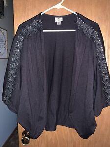 Worthington Women's Shrug Top Bolero Open Front Knit Beaded Size XL