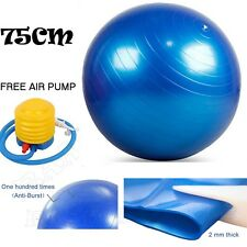 75cm ANTI BURST YOGA EXERCISE GYM PREGNANCY SWISS FITNESS ABS BALL + PUMP BLUE