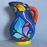 """Studio Art Pottery 8"""" Bright Floral Hand Painted Folk FLOWERS Pitcher Unsigned"""