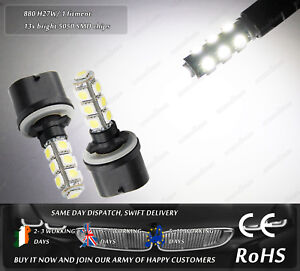 880 H27W/1 LED Xenon White 6000k DRL Daytime Running Lights Bulbs Lamps 12v
