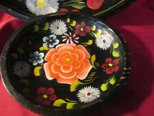 2 Vintage Folk Art  hand carved Wooden Bowls trays Painted Tole bright flowers
