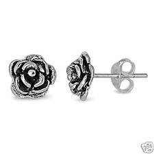 Black Rose Stud Earrings Sterling Silver 925 Floral Style Jewelry Gift 8 mm
