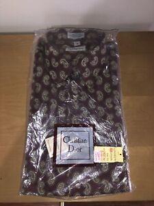 VINTAGE CHRISTIAN DIOR Paisley Dress SHIRT Stripe Long Sleeve NOS 70s Disco