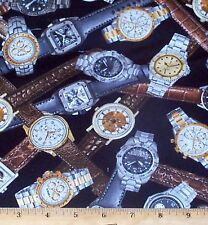 Watches Wrist Fabric Fat Quarter 100% Cotton Man Cave Novelty Quilt Sew
